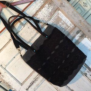 NWOT Lace & Turquoise Decor Tote / Crossbody Bag